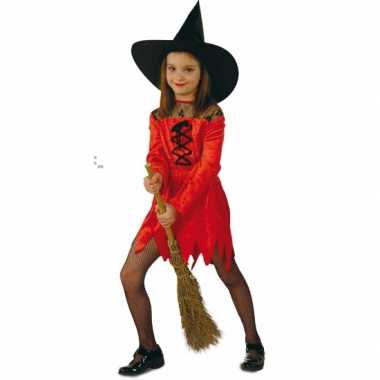 Carnaval  Heksen verkleedjurk rood meiden kostuum
