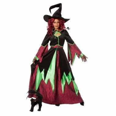 Carnaval  Heksen kostuum jurk rood/groen vrouwen