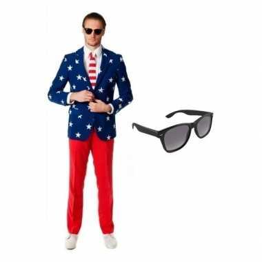 Carnaval heren kostuum amerikaanse vlag print maat (m) gratis