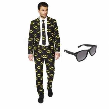 Carnaval heren kostuum batman print maat (m) gratis zonnebri