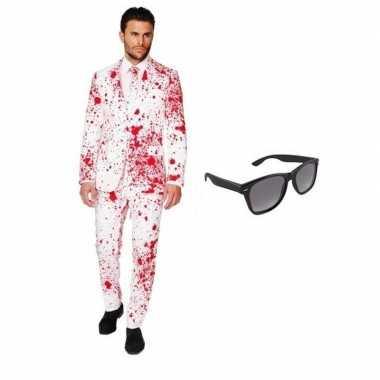 Carnaval heren kostuum bloed print maat (l) gratis zonnebri