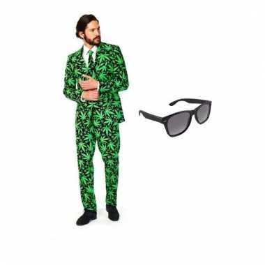 Carnaval heren kostuum cannabis print maat (s) gratis zonnebri