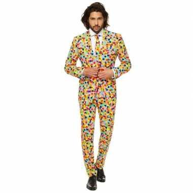 Carnaval heren kostuum confetti print