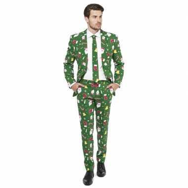 Carnaval heren kostuum groen kerst print