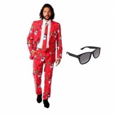Carnaval heren kostuum kerst print maat (xl) gratis zonnebril