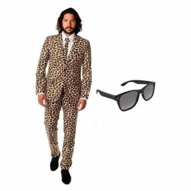 Carnaval heren kostuum luipaard print maat (l) gratis zonnebri