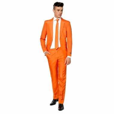 Carnaval heren kostuum oranje stropdas