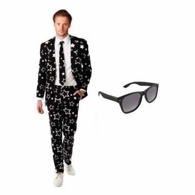 Carnaval heren kostuum sterren print maat (s) gratis zonnebril