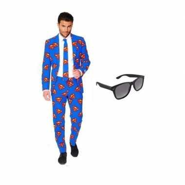Carnaval heren kostuum superman print maat (s) gratis zonnebri