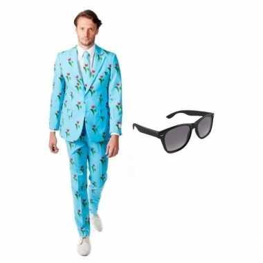 Carnaval heren kostuum tulpen print maat (m) gratis zonnebril