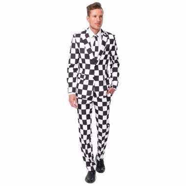 Carnaval heren kostuum zwart wit geblokt print