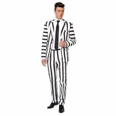 Carnaval heren kostuum zwarte witte strepen print