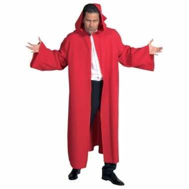Carnaval  Heren mantel capuchon rood kostuum