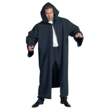 Carnaval  Heren mantel capuchon zwart kostuum