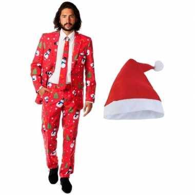 Carnaval heren opposuits kerst kostuum rood kerstmuts maat (xl)