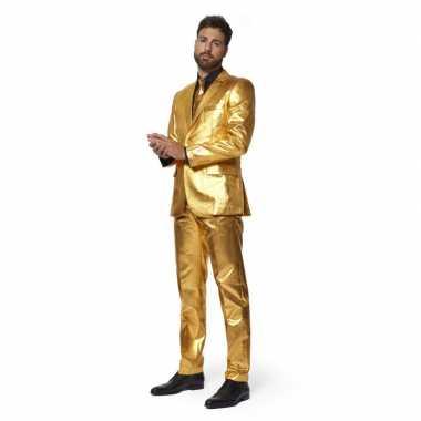 Carnaval heren verkleed kostuum/kostuum metallic goud stropdas