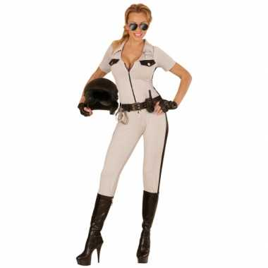 Carnaval highway politie beige kostuum dames