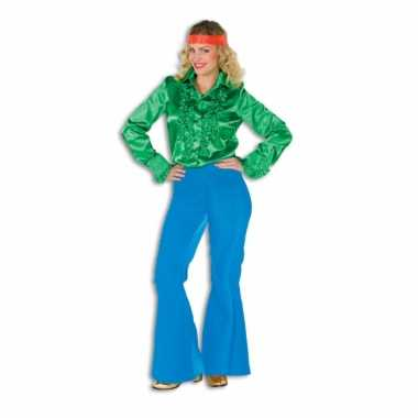 Carnaval  Hippie broek blauw dames kostuum
