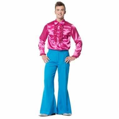 Carnaval  Hippie broek blauw wijde pijpen heren kostuum