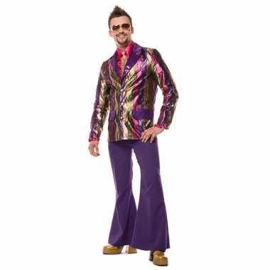 Carnaval  Hippie broek paars wijde pijpen heren kostuum