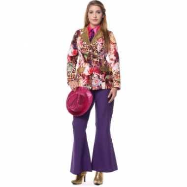 Carnaval  Hippie broek paarse dames kostuum