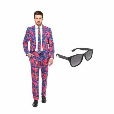 Carnaval jaren print heren kostuum maat (l) gratis zonnebril