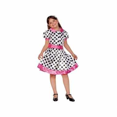 Carnaval  Jaren kostuum jurk meiden wit/roze
