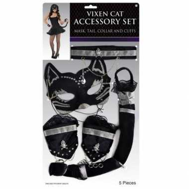 Carnaval katten/poezen verkleed kostuum zwart zilver delig