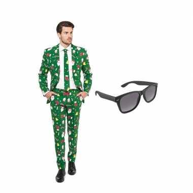 Carnaval kerst print heren kostuum maat (xl) gratis zonnebril