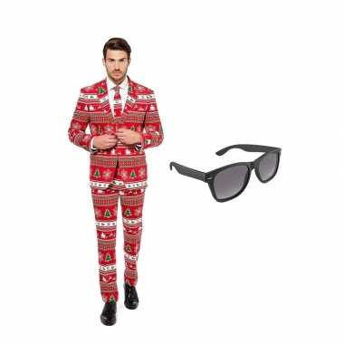 Carnaval kerstboom print heren kostuum maat (xl) gratis zonnebril