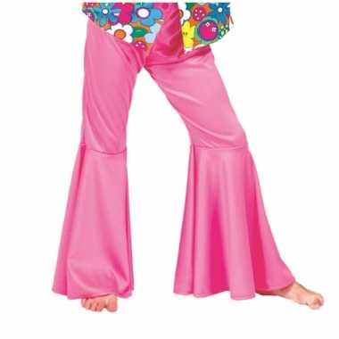 Carnaval  Kids hippie broek roze kostuum