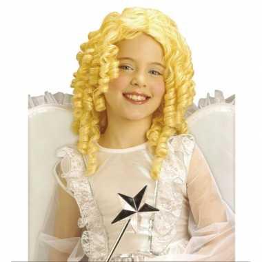 Carnaval krullende kinderpruik blonde kleur kostuum