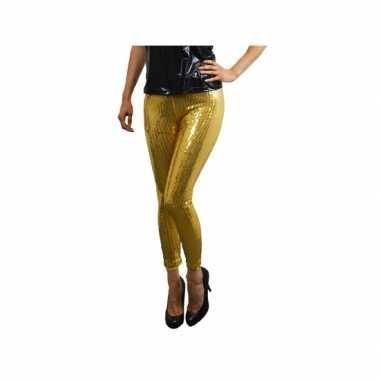 Carnaval legging goud pailletten kostuum
