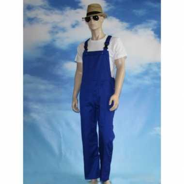 Carnaval leuk blauwe tuinbroek kinderen kostuum