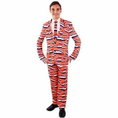 Carnaval leuk heren kostuum oranje vlag nederland print heren