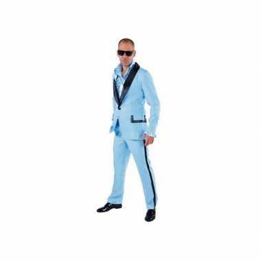 Carnaval lichtblauwe smoking kostuum heren