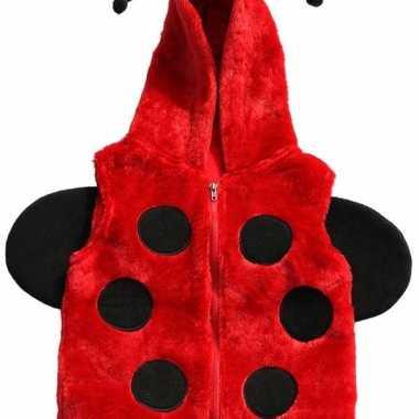 Carnaval lieveheersbeestje vestje capuchon kinderen kostuum