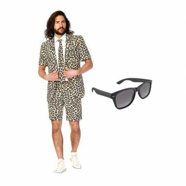 Carnaval luipaard print zomer kostuum maat (l) gratis zonnebril