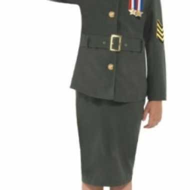 Carnaval  Meisjes army girl kostuum groen