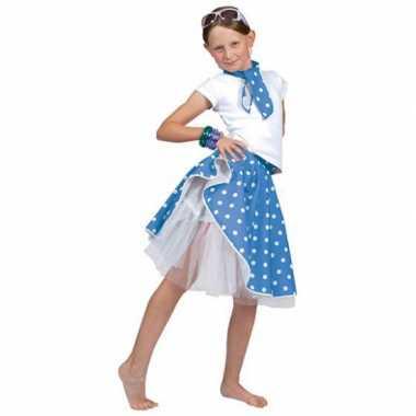 Carnaval  Meisjes rock n roll rok blauw kostuum