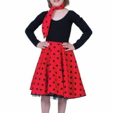 Carnaval  Meisjes rock n roll rok rood kostuum