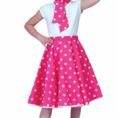 Carnaval  Meisjes rock n roll rok roze kostuum