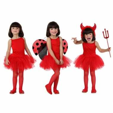 Carnaval  Meisjes verkleed kostuum jurkje rood