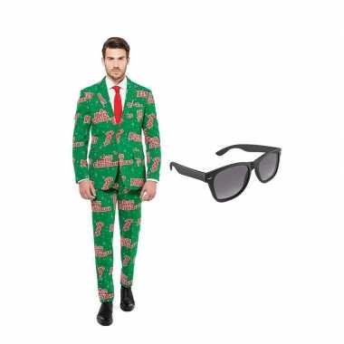Carnaval merry christmas print heren kostuum maat (xl) gratis zonnebr