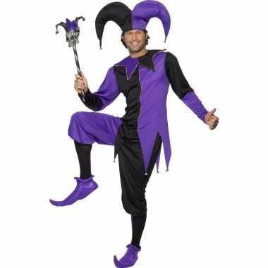 Carnaval narrenkostuum zwart/paars heren