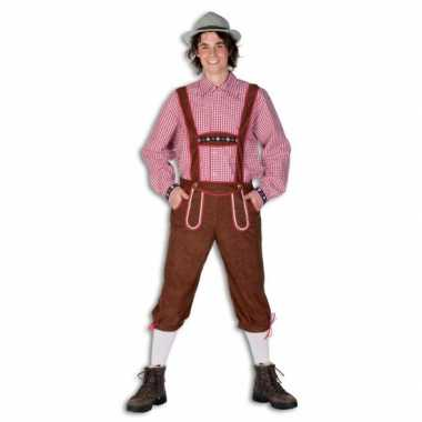 Carnaval  Oktoberfest bruine lederhose heren kostuum