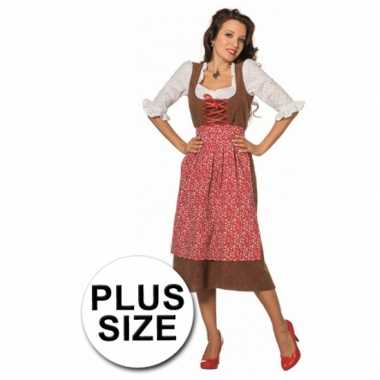 Carnaval  Oktoberfest Grote maat lange tiroler kostuum jurk