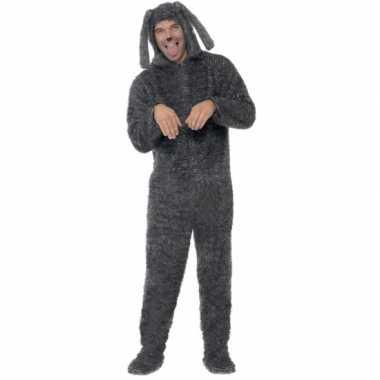 Carnaval onesie grijze hond volwassenen kostuum
