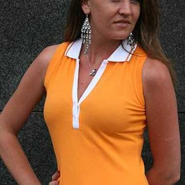 Carnaval  Oranje mouwloos dames polo kostuum