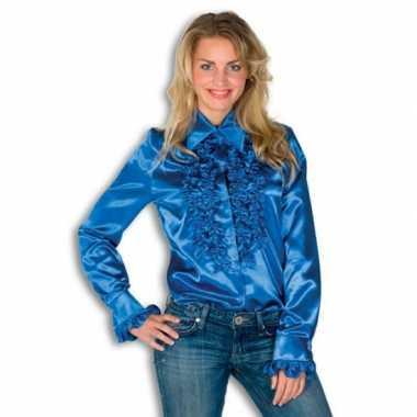 Carnaval overhemd blauw rouches dames kostuum